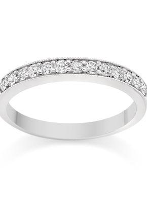 Milgrain Pave Set Diamond Wedding Ring in 18k White Gold, 1093