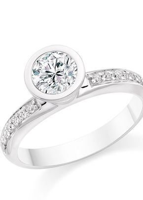 Round Cut 0.59 Carat Side Stones Engagement Ring 18k White Gold, Diamond Manufacturers