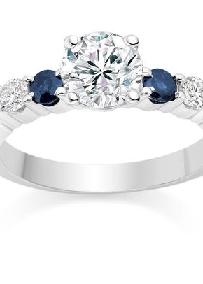 Round Cut 0.63 Carat Colour Side Stones Engagement Ring in 18k White Gold, Diamond Manufacturers