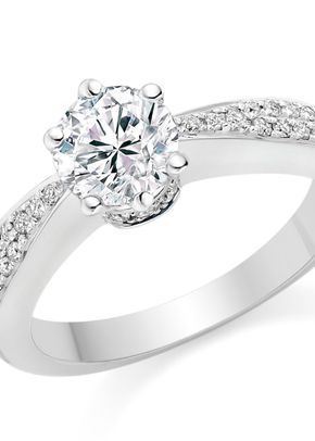 Round Cut 0.69 Carat Side Stones Engagement Ring 18k White Gold, Diamond Manufacturers