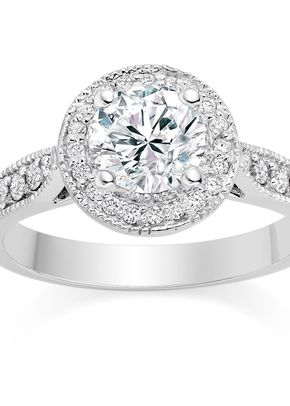 Round Cut 0.75 Carat Halo Engagement Ring with Side Stones 18k White Gold, Diamond Manufacturers