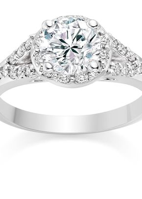 Round Cut 0.95 Carat Halo Engagement Ring with Side Stones 18k White Gold, Diamond Manufacturers