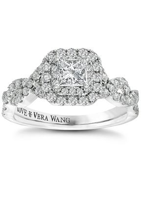 Vera Wang 18ct White Gold 0.95ct Total Diamond Double Halo Ring, 1303