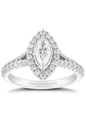 Vera Wang 18ct White Gold 0.95ct Total Marquise Diamond Halo Ring, 1303