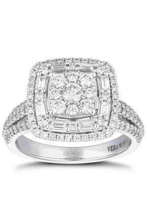 Vera Wang 18ct White Gold 1ct Total Diamond Baguette Ring, Ernest Jones