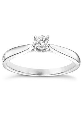 9ct White Gold 0.20ct Diamond Solitare Ring, 1305