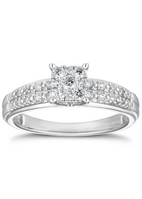 9ct White Gold 0.25ct Total Diamond Square Cluster Ring, 1305