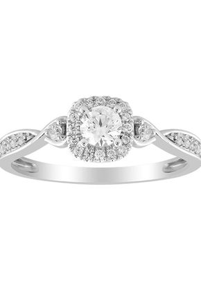 9ct White Gold 0.33ct Total Diamond Solitaire Twist Ring, 1305