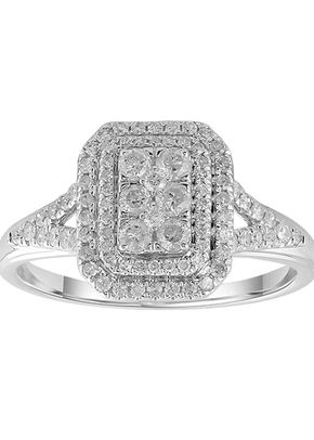 9ct White Gold 0.50ct Total Diamond Emerald Shaped Ring, 1305