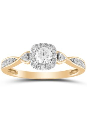 9ct Yellow Gold 0.33ct Total Diamond Solitaire Twist Ring, 1305