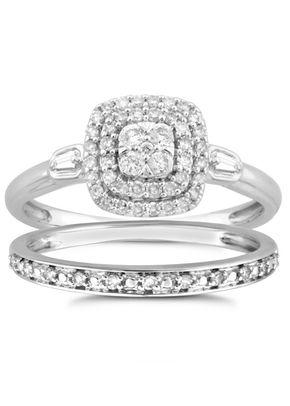 Perfect Fit 9ct White Gold 0.33ct Total Diamond Bridal Set, 1305