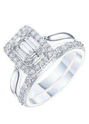 Perfect Fit 9ct White Gold 0.75ct Total Diamond Bridal Set, 1305