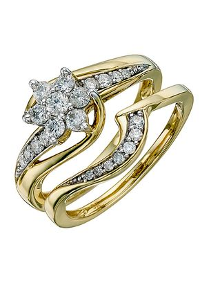 Perfect Fit 9ct Yellow Gold 0.50ct Total Diamond Bridal Set, 1305