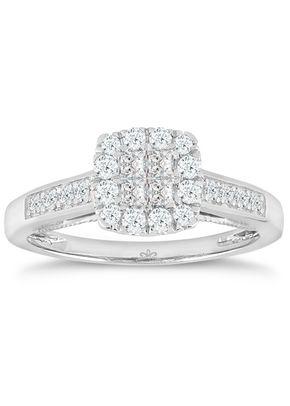 Princessa 9ct White Gold 0.50ct Diamond Cluster Ring, 1305
