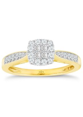 Princessa 9ct Yellow Gold 0.33ct Diamond Cluster Ring, 1305