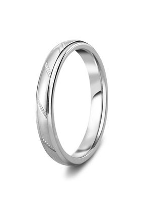 Diamond Cut 3mm Angular Cut Grooved Wedding Ring, House of Diamonds