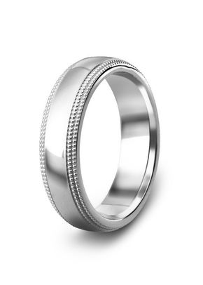 Diamond Cut Patterned Wedding Ring, 5mm Band, House of Diamonds