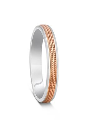 Two Colour Red Gold & Argentium Silver Milgrain Cut Wedding Ring, 1209