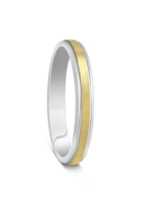 Two Colour Yellow Gold & Argentium Silver Brushed Wedding Ring, House of Diamonds
