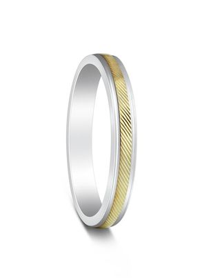 Two Colour Yellow Gold & Argentium Silver Chiseled Wedding Ring, House of Diamonds