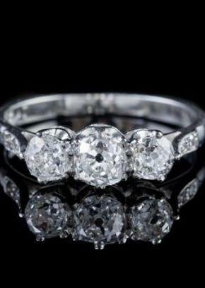 Antique Edwardian 1.36ct Old Cut Diamond Trilogy Platinum Ring With Cert Circa 1910, Laurelle Antique Jewellery