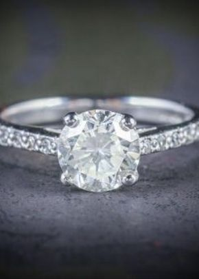 Antique Edwardian Diamond Solitaire Engagement Ring Platinum 1.30ct, Laurelle Antique Jewellery