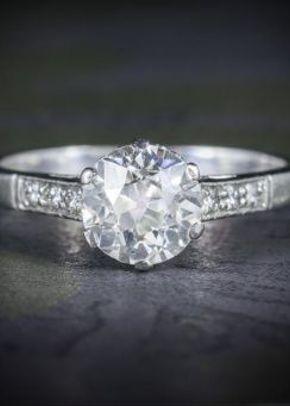 Antique Edwardian Platinum 1.58ct Solitaire Diamond Ring Circa 1915, Laurelle Antique Jewellery