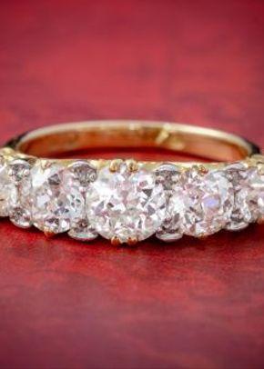 Antique Victorian Diamond Five Stone Ring 18ct Gold 3.09ct Diamonds Circa 1900 Cert, Laurelle Antique Jewellery