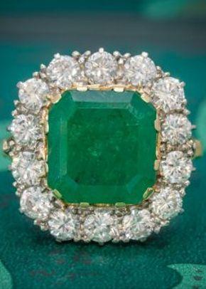 Antique Victorian Emerald Diamond Cluster Ring 18ct Gold 4.50ct Emerald Circa 1900, Laurelle Antique Jewellery
