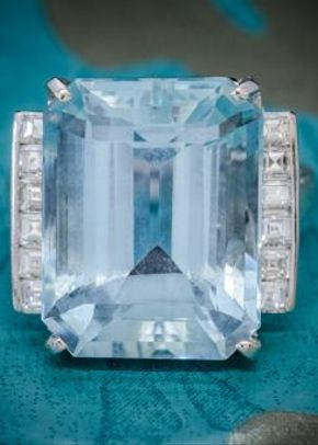 Art Deco Aquamarine Diamond Ring Platinum 12ct Aqua Circa 1930, Laurelle Antique Jewellery