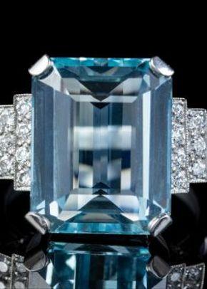 Art Deco Aquamarine Diamond Ring Platinum 13.17ct Emerald Cut Aqua Circa 1920, Laurelle Antique Jewellery