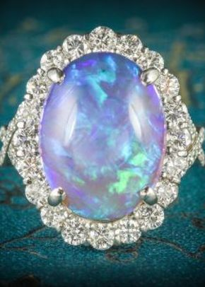 Black Opal Diamond Ring Platinum 16ct Black Opal, Laurelle Antique Jewellery