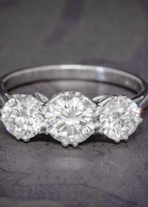 Brilliant Cut Diamond Trilogy Engagement Ring Platinum 2.35ct of Diamond, Laurelle Antique Jewellery