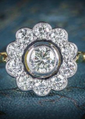 Diamond Cluster Ring 18ct Gold 0.70ct Centre Diamond, Laurelle Antique Jewellery