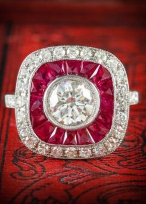 Diamond Ruby Ring 18ct French Cut Rubies 2.50ct, Laurelle Antique Jewellery