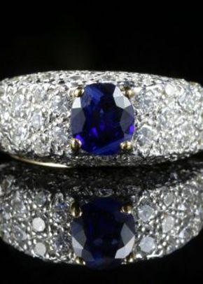 Diamond Sapphire Engagement Ring 5ct Diamond 18ct Gold, Laurelle Antique Jewellery