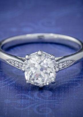 Diamond Solitaire Engagement Ring Platinum 1.24ct Old Cut Diamond Circa 1918 Cert, Laurelle Antique Jewellery