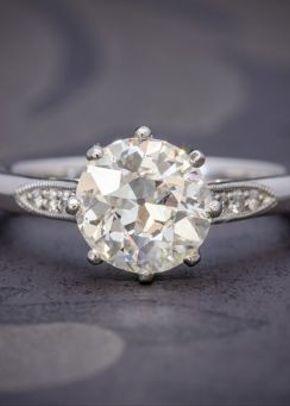 Diamond Solitaire Engagement Ring Platinum 1.80ct Diamond, Laurelle Antique Jewellery
