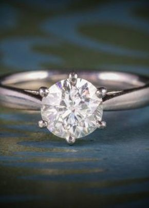 Diamond Solitaire Ring Platinum Engagement Ring 1.60ct Diamond, 1299