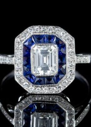 Emerald Cut Diamond Sapphire Cluster Ring 18ct White Gold, Laurelle Antique Jewellery