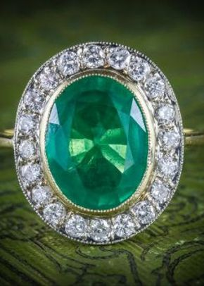 Emerald Diamond Engagement Ring 18ct Gold 7ct Natural Emerald, 1299