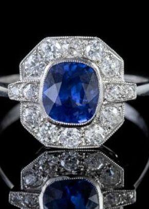 Sapphire Diamond Cluster Ring Platinum 1.40ct Sapphire, Laurelle Antique Jewellery
