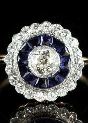 Sapphire Diamond Engagement Ring 18ct Gold French Cut Sapphires, Laurelle Antique Jewellery