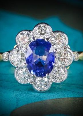 Sapphire Diamond Ring Cluster 18ct Gold Ring, Laurelle Antique Jewellery
