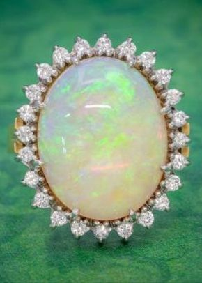 Vintage 12ct Natural Opal Cluster Ring 18ct Gold Circa 1960, Laurelle Antique Jewellery
