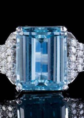Vintage 15ct Aquamarine Diamond Cocktail Ring 18ct White Gold 1.20ct Diamond Circa 1950, Laurelle Antique Jewellery