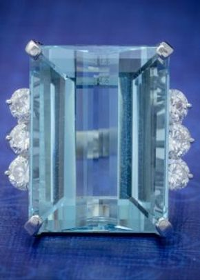 Vintage Aquamarine Diamond Cocktail Ring Platinum 20ct Emerald Cut Aqua, Laurelle Antique Jewellery