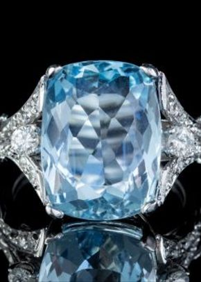 Vintage Aquamarine Diamond Ring Platinum 8ct BRIOLETTE Cut Aqua, Laurelle Antique Jewellery