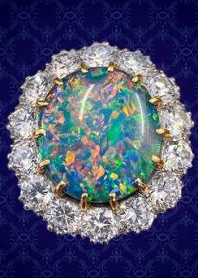 Vintage Black Opal Cluster Ring Platinum 5.75ct Opal Circa 1970, Laurelle Antique Jewellery