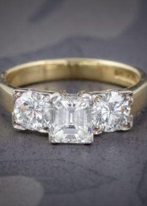 Vintage Diamond Trilogy Ring 18ct Gold Platinum 2ct Diamond, Laurelle Antique Jewellery